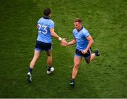 20 July 2019; Ciaran Kilkenny of Dublin, right, is replaced by team-mate Kevin McManamon during the GAA Football All-Ireland Senior Championship Quarter-Final Group 2 Phase 2 match between Dublin and Roscommon at Croke Park in Dublin. Photo by Seb Daly/Sportsfile