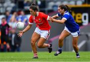 20 July 2019; Ciara O'Sullivan of Cork in action against Shauna Lynch of Cavan during the TG4 All-Ireland Ladies Football Senior Championship Group 2 Round 2 match between Cork and Cavan at TEG Cusack Park in Mullingar, Co. Westmeath. Photo by Piaras Ó Mídheach/Sportsfile