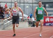 20 July 2019; Elias Goer of Germany, left, and Aaron Sexton of Ireland competing in the Men's 200m during Day Three of the European Athletics U20 Championships in Borås, Sweden. Photo by Giancarlo Colombo/Sportsfile