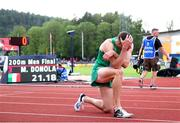 20 July 2019; Aaron Sexton of Ireland after competing in the Men's 200m during Day Three of the European Athletics U20 Championships in Borås, Sweden. Photo by Giancarlo Colombo/Sportsfile