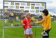 20 July 2019; Player of the Match Orla Finn of Cork is interviewed by Gráinne McElwain of TG4 after the TG4 All-Ireland Ladies Football Senior Championship Group 2 Round 2 match between Cork and Cavan at TEG Cusack Park in Mullingar, Co. Westmeath. Photo by Piaras Ó Mídheach/Sportsfile