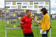 20 July 2019; Cork manager Ephie Fitzgerald is interviewed by Gráinne McElwain of TG4 after the TG4 All-Ireland Ladies Football Senior Championship Group 2 Round 2 match between Cork and Cavan at TEG Cusack Park in Mullingar, Co. Westmeath. Photo by Piaras Ó Mídheach/Sportsfile