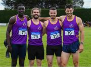 20 July 2019; The Wexford County team who came second in the 4x400m relay from left Peter O'Connor, Adam Fitzhenry, Chris St Clare Johnson and Michael Bowler during the AAI National League Final at Tullamore Harriers Stadium in Tullamore, Co. Offaly. Photo by Matt Browne/Sportsfile