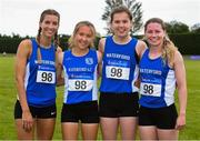 20 July 2019; The Waterford team from left Megan Kiely, Una O'Brien, Lucy Holmes and Lias O'Connor who won the Division 1 ladies 4x400m relay during the AAI National League Final at Tullamore Harriers Stadium in Tullamore, Co. Offaly. Photo by Matt Browne/Sportsfile