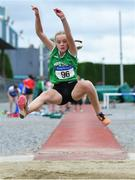 21 July 2019; Mia Casey of Ferrybank AC, Co Waterford, competing in the Girls U14 Long Jump event during the Irish Life Health Juvenile B's & Relays at Tullamore Harriers Stadium in Tullamore, Co. Offaly. Photo by Piaras Ó Mídheach/Sportsfile