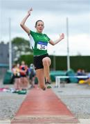 21 July 2019; Annabelle Walsh of Ferrybank AC, Co Waterford, competing in the Girls U14 Long Jump event during the Irish Life Health Juvenile B's & Relays at Tullamore Harriers Stadium in Tullamore, Co. Offaly. Photo by Piaras Ó Mídheach/Sportsfile