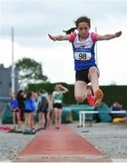 21 July 2019; Kate Raftery of Ratoath AC, Co Meath, competing in the Girls U14 Long Jump event during the Irish Life Health Juvenile B's & Relays at Tullamore Harriers Stadium in Tullamore, Co. Offaly. Photo by Piaras Ó Mídheach/Sportsfile