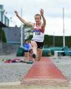 21 July 2019; Clodagh Quirke of Galway City Harriers AC, Co Galway, competing in the Girls U14 Long Jump event during the Irish Life Health Juvenile B's & Relays at Tullamore Harriers Stadium in Tullamore, Co. Offaly. Photo by Piaras Ó Mídheach/Sportsfile