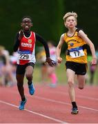 21 July 2019; Promise Jolaosho of Ennis Track AC, Co Clare, left, and Cillian Yore of Bohermeen AC, Co Meath, competing in the Boys U13 80m event during the Irish Life Health Juvenile B's & Relays at Tullamore Harriers Stadium in Tullamore, Co. Offaly. Photo by Piaras Ó Mídheach/Sportsfile