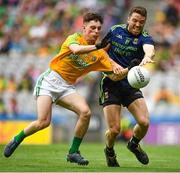 21 July 2019; Chris Barrett of Mayo in action against James Conlon of Meath during the GAA Football All-Ireland Senior Championship Quarter-Final Group 1 Phase 2 match between Mayo and Meath at Croke Park in Dublin. Photo by David Fitzgerald/Sportsfile