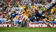 21 July 2019; Ethan Devine of Meath in action against Colm Boyle, left, and Aidan O'Shea of Mayo during the GAA Football All-Ireland Senior Championship Quarter-Final Group 1 Phase 2 match between Mayo and Meath at Croke Park in Dublin. Photo by David Fitzgerald/Sportsfile
