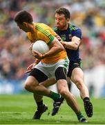 21 July 2019; Shane McEntee of Meath in action against Chris Barrett of Mayo during the GAA Football All-Ireland Senior Championship Quarter-Final Group 1 Phase 2 match between Mayo and Meath at Croke Park in Dublin. Photo by David Fitzgerald/Sportsfile