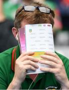 21 July 2019; A Mayo fan reacts during the GAA Football All-Ireland Senior Championship Quarter-Final Group 1 Phase 2 match between Mayo and Meath at Croke Park in Dublin. Photo by David Fitzgerald/Sportsfile