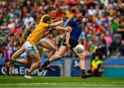 21 July 2019; Seamus O'Shea of Mayo in action against Conor McGill and Shane Gallagher of Meath during the GAA Football All-Ireland Senior Championship Quarter-Final Group 1 Phase 2 match between Mayo and Meath at Croke Park in Dublin. Photo by Ray McManus/Sportsfile
