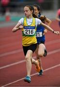 21 July 2019; Caoimhe Gray-Walsh of St. Nicholas AC, Co Cork, competing in the Girls U12 600m event during the Irish Life Health Juvenile B's & Relays at Tullamore Harriers Stadium in Tullamore, Co. Offaly. Photo by Piaras Ó Mídheach/Sportsfile