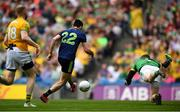 21 July 2019; Kevin McLoughlin of Mayo shoots to score his side's first goal during the GAA Football All-Ireland Senior Championship Quarter-Final Group 1 Phase 2 match between Mayo and Meath at Croke Park in Dublin. Photo by David Fitzgerald/Sportsfile