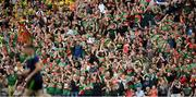 21 July 2019; Mayo supporters celebrate their side's first goal scored by Kevin McLoughlin during the GAA Football All-Ireland Senior Championship Quarter-Final Group 1 Phase 2 match between Mayo and Meath at Croke Park in Dublin. Photo by David Fitzgerald/Sportsfile