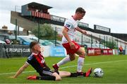 21 July 2019; Dean Clarke of St Patrick's Athletic in action against Paddy Kirk of Bohemians during the SSE Airtricity League Premier Division match between Bohemians and St Patrick's Athletic at Dalymount Park in Dublin. Photo by Michael P Ryan/Sportsfile