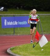 21 July 2019; Caoimhe Flannery of Skibbereen AC, Co Cork, competing in the Girls U13 600m event during the Irish Life Health Juvenile B's & Relays at Tullamore Harriers Stadium in Tullamore, Co. Offaly. Photo by Piaras Ó Mídheach/Sportsfile