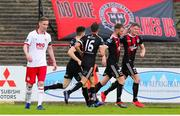 21 July 2019; Ryan Swan, far right, of Bohemians celebrates after scoring his side's first goal with team-mates during the SSE Airtricity League Premier Division match between Bohemians and St Patrick's Athletic at Dalymount Park in Dublin. Photo by Michael P Ryan/Sportsfile