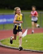 21 July 2019; Della McLoughlin of Oughaval AC, Co Laois, competing in the Girls U13 600m event during the Irish Life Health Juvenile B's & Relays at Tullamore Harriers Stadium in Tullamore, Co. Offaly. Photo by Piaras Ó Mídheach/Sportsfile