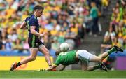 21 July 2019; Cillian O'Connor of Mayo shoots to score his side's second goal past substitute Meath goalkeeper Marcus Brennan during the GAA Football All-Ireland Senior Championship Quarter-Final Group 1 Phase 2 match between Mayo and Meath at Croke Park in Dublin. Photo by David Fitzgerald/Sportsfile