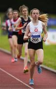 21 July 2019; Sadhbh Buckley of St. Coca's AC, Co Kildare, competing in the Girls U14 800m event during the Irish Life Health Juvenile B's & Relays at Tullamore Harriers Stadium in Tullamore, Co. Offaly. Photo by Piaras Ó Mídheach/Sportsfile