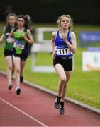 21 July 2019; Katie Dowds of Finn Valley AC, Co Donegal, competing in the Girls U14 800m event during the Irish Life Health Juvenile B's & Relays at Tullamore Harriers Stadium in Tullamore, Co. Offaly. Photo by Piaras Ó Mídheach/Sportsfile