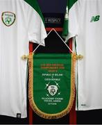 21 July 2019; The Republic of Ireland match pennant hangs in their dressing room prior to the 2019 UEFA U19 European Championship Finals group B match between Republic of Ireland and Czech Republic at the FFA Academy Stadium in Yerevan, Armenia. Photo by Stephen McCarthy/Sportsfile