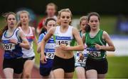 21 July 2019; Aine Sheridan of Carraig-Na-Bhfear AC, Co Cork, front, competing in the Girls U14 800m event during the Irish Life Health Juvenile B's & Relays at Tullamore Harriers Stadium in Tullamore, Co. Offaly. Photo by Piaras Ó Mídheach/Sportsfile