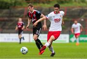 21 July 2019; Lee Desmond of St Patrick's Athletic in action against Ryan Swan of Bohemians during the SSE Airtricity League Premier Division match between Bohemians and St Patrick's Athletic at Dalymount Park in Dublin. Photo by Michael P Ryan/Sportsfile