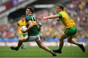 21 July 2019; David Clifford of Kerry in action against Hugh McFadden of Donegal during the GAA Football All-Ireland Senior Championship Quarter-Final Group 1 Phase 2 match between Kerry and Donegal at Croke Park in Dublin. Photo by David Fitzgerald/Sportsfile