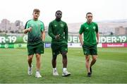 21 July 2019; Republic of Ireland players, from left, Matt Everitt, Festy Ebosele and Joe Hodge prior to the 2019 UEFA U19 European Championship Finals group B match between Republic of Ireland and Czech Republic at the FFA Academy Stadium in Yerevan, Armenia. Photo by Stephen McCarthy/Sportsfile