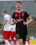 21 July 2019; Ryan Swan of Bohemians celebrates after scoring his side's third goal during the SSE Airtricity League Premier Division match between Bohemians and St Patrick's Athletic at Dalymount Park in Dublin. Photo by Michael P Ryan/Sportsfile