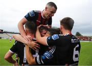 21 July 2019; Ryan Swan of Bohemians celebrates with team-mates after scoring his side's third goal during the SSE Airtricity League Premier Division match between Bohemians and St Patrick's Athletic at Dalymount Park in Dublin. Photo by Michael P Ryan/Sportsfile