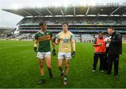 21 July 2019; David Clifford, left, and Seán O'Shea of Kerry following the GAA Football All-Ireland Senior Championship Quarter-Final Group 1 Phase 2 match between Kerry and Donegal at Croke Park in Dublin. Photo by David Fitzgerald/Sportsfile