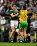 21 July 2019; David Clifford of Kerry and Paul Brennan of Donegal get involved in a bit of jersey pulling during the GAA Football All-Ireland Senior Championship Quarter-Final Group 1 Phase 2 match between Kerry and Donegal at Croke Park in Dublin. Photo by Ray McManus/Sportsfile