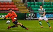 21 July 2019; Aaron Greene of Shamrock Rovers shoots to score his side's seventh goal past Gavin Sheridan of UCD during the SSE Airtricity League Premier Division match between Shamrock Rovers and UCD at Tallaght Stadium in Dublin. Photo by Seb Daly/Sportsfile