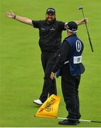 21 July 2019; Shane Lowry of Ireland celebrates with caddy Brian Martin on the 18th green after winning The Open Championship during Day Four of the 148th Open Championship at Royal Portrush in Portrush, Co Antrim. Photo by Brendan Moran/Sportsfile