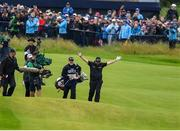 21 July 2019; Shane Lowry of Ireland celebrates after playing his approach shot on the 18th fairway during Day Four of the 148th Open Championship at Royal Portrush in Portrush, Co Antrim. Photo by Brendan Moran/Sportsfile