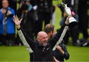 21 July 2019; Brendan Lowry, father of Shane Lowry of Ireland, celebrates with the Claret Jug on Day Four of the 148th Open Championship at Royal Portrush in Portrush, Co Antrim. Photo by Brendan Moran/Sportsfile
