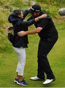 21 July 2019;  Shane Lowry of Ireland celebrates with his mother, Bridget, after winning The Open Championship on Day Four of the 148th Open Championship at Royal Portrush in Portrush, Co Antrim. Photo by Brendan Moran/Sportsfile