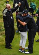 21 July 2019; Shane Lowry of Ireland celebrates with his parents, Bridget and Brendan, after winning The Open Championship on Day Four of the 148th Open Championship at Royal Portrush in Portrush, Co Antrim. Photo by Brendan Moran/Sportsfile