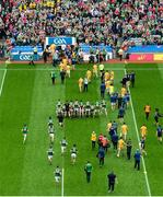 21 July 2019; The Kerry team get their photo taken as the Meath team leave the field after the GAA Football All-Ireland Senior Championship Quarter-Final Group 1 Phase 2 match between Kerry and Donegal at Croke Park in Dublin. Photo by Daire Brennan/Sportsfile