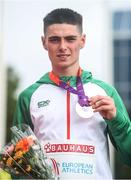 21 July 2019; Darragh McElhinney of Ireland with his Bronze medal after competing in the Men's 5000m final during Day Four of the European Athletics U20 Championships in Borås, Sweden. Photo by Giancarlo Colombo/Sportsfile