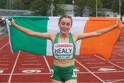 21 July 2019; Sarah Healy of Ireland after finishing second for Silver in the Women's 1500m final during Day Four of the European Athletics U20 Championships in Borås, Sweden. Photo by Giancarlo Colombo/Sportsfile