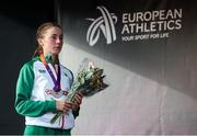 21 July 2019; Sarah Healy of Ireland with her Silver medal after finishing second in the Women's 1500m final during Day Four of the European Athletics U20 Championships in Borås, Sweden. Photo by Giancarlo Colombo/Sportsfile