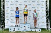 21 July 2019; Anna Russell of Olympian Youth & AC, Co Donegal, second place, Caoimhe Gray-Walsh of St. Nicholas AC, Co Cork, first place, and Lily Ryan of St. Joseph's AC, Co Kilkenny, third place, after the Girls U12 600m event during the Irish Life Health Juvenile B's & Relays at Tullamore Harriers Stadium in Tullamore, Co. Offaly. Photo by Piaras Ó Mídheach/Sportsfile