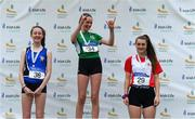 21 July 2019; Ellie Smyth of St. Peter's AC, Co Louth, second place, Annabelle Walsh of Ferrybank AC, Co Waterford, first place, Alexandra Mulcahy of Greystones & District AC, Co Wicklow, third place, after the Girls U14 High Jump event during the Irish Life Health Juvenile B's & Relays at Tullamore Harriers Stadium in Tullamore, Co. Offaly. Photo by Piaras Ó Mídheach/Sportsfile