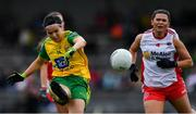 20 July 2019; Geraldine McLaughlin of Donegal shoots under pressure from Caoileann Conway of Tyrone during the TG4 All-Ireland Ladies Football Senior Championship Group 4 Round 2 match between Donegal and Tyrone at TEG Cusack Park in Mullingar, Co. Westmeath. Photo by Piaras Ó Mídheach/Sportsfile